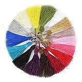 RUBY - 50 Borlas de hilo, borlas suaves y sedosas, flecos para la fabricación de joyas,...