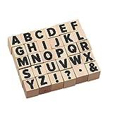 Supvox 30 Piezas Alfabeto Madera Letras Sellos Símbolos Sellos para Manualidades Scrapbooking...