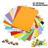 Cartulina de colores A4, 100 unidades, 230 g, 20 colores variados, papel de origami, manualidades y...