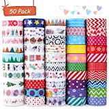 Buluri 50 Rollos de Cinta Adhesiava Washi Cinta Adhesiva Decorativa para Scrapbooking DIY...