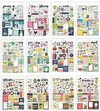 Simple Stories 7974 - Pegatinas para planificador, multicolor, tamaño A5, 12 unidades