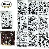 Plantillas para organizador,DANCEPANDAS 10 piezas Bullet Diario Stencil Set Plástico Planificador...