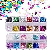 24 colores/set 3D Lentejuelas de uñas de mariposa, Kalolary Holográfica Butterfly Nail Lentejuelas...