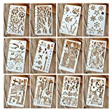 Hillento 12 piezas Dibujo de plantillas de pintura Conjuntos de plantillas de escala para el...